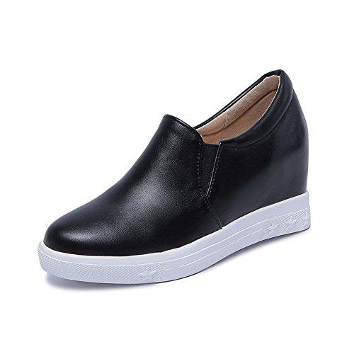 VogueZone009 Femme Tire Rond à Talon Correct Couleur Unie Chaussures Légeres Noir