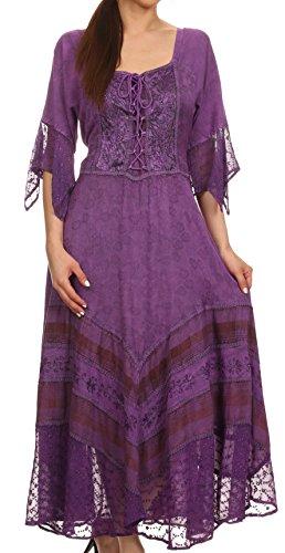 Sakkas 15224 - Bexley - Robe Fourreau Style bohémien Gitane à Encolure dégagée - Violet - L/XL