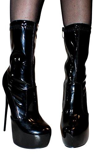 Erogance Lack Plateau High Heels stretch Bottines pour femme a5738/EU 37-46 Noir - Blk