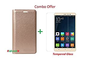 RidivishN (COMBO OFFER ) for Panasonic P55 Novo 4g Leather Flip Case Cover + Premium Tempered Glass Screen Protector - Gold