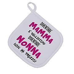 Idea Regalo - bubbleshirt Presina Essere Mamma è Bellissimo Diventare Nonna Non ha Prezzo - Festa dei Nonni - Idea Regalo - Dimensioni: 17cm x 17 cm