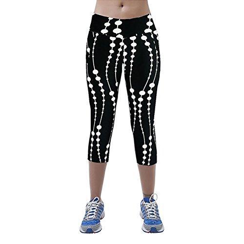 iBaste Leggings de Sport Femme imprimé Jogging Yoga Pantalons Taille Haute Capri Style 3