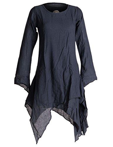Vishes - Alternative Bekleidung – Langärmliges Zipfeliges Lagenlook Kleid / Tunika aus handgewebter Baumwolle schwarzuni 42/44