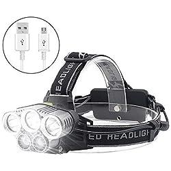 Jirvyuk Lampe Frontale Puissante 5 LED de 8000 lumens, Lampe Torche LED Zoomable Étanche 2 x 18650 Batterie Rechargeable de Protection Contre Surcharge