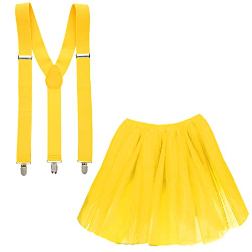 (Goldschmidt Kostüme Tüllrock und Hosenträger Set Verkleidung Kostüm Karneval Petticoat Tutu (gelb))