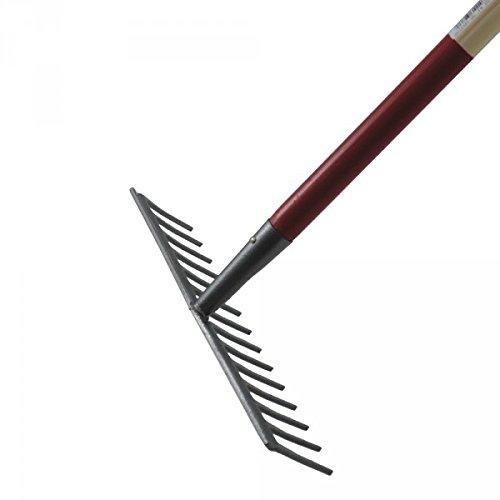 Râteau de jardin 14 dents droites - Avec manche bois 1,5 m