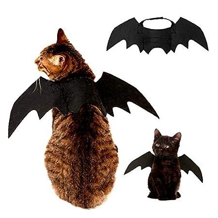 EisEyen Halloween Pet Hund Bat Wings Katze Fledermaus Kostüm, Fledermausflügel für Katzen Hund mit Horn, Kürbis Glocke…