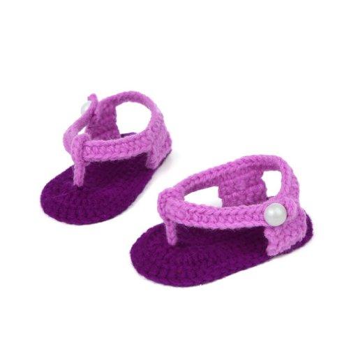 Schuhe 6 Schleife Bigood Krabbelschuhe Gestrickte unisex Violett Flops Weis V Baby Flip Baby Cm Länge 11 Flauschige 0 5gpq1wX
