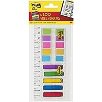 Post-It Ruler - Juego de banderitas y regla de plástico de 16 mm (180 unidades, varios tamaños), multicolor