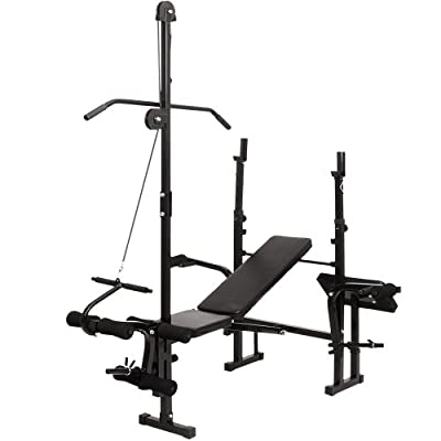 Multifunctional Weight Bench (Black) Gym Workout Training Machine Sports Fitness by Physionics