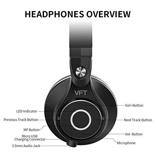 Bluedio U PLUS (UFO) Pro Extra Bass wireless Bluetooth headphones brevettato PPS12 Drivers Over-Ear DJ Headphones (Nero)