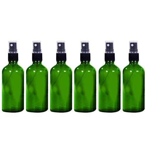 6 PCS 1.66oz/50ml Voyage portable verre bouteille vide réutilisable Fine brume Spray bouteille récipient voyage parfum huiles essentielles contenants pulvérisateur Vert