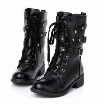 Stivali da moto donne raffreddano caviglia goth punk martin militare pizzo -up nero