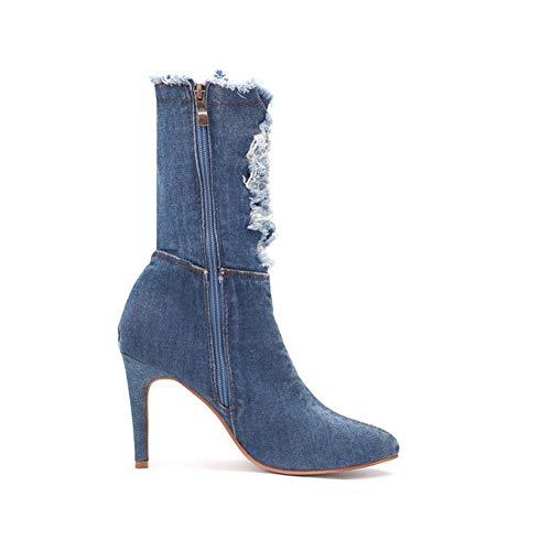 Denim Ankle Boot (Lxmhz High Heels für Frauen Denim Patchwork Sexy High Heeled Fashion Zipper Jeans Booties Ankle Boot,1,US9/EU40/UK7/CN41)