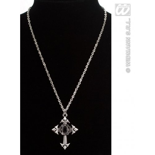 Widmann 7513V, Kette gothisches Kreuz mit Jupitertropfen in 4 Farbvarianten - blau, lila, rot und schwarz für Halloween oder Karneval (grün) (Costum De Halloween)