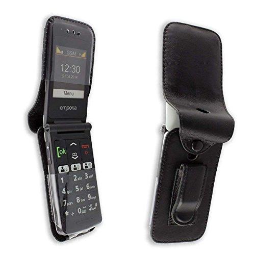 caseroxx Handy-Tasche Ledertasche mit Gürtelclip für Emporia Emporia Flip Basic aus Echtleder, Handyhülle für Gürtel (mit Sichtfenster aus schmutzabweisender Klarsichtfolie in schwarz)