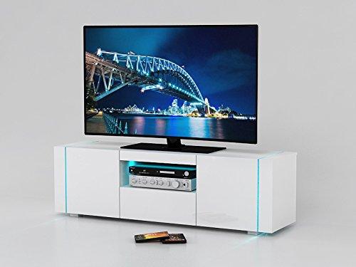 Meuble TV Santorini 160 cm en blanc laque