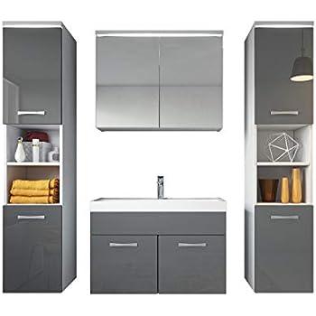 Badmöbel Grau Hochglanz.Badezimmer Badmöbel Set Paso Xl Led 80 Cm Waschbecken Hochglanz Grau Fronten Unterschrank 2x Hochschrank Waschbecken Möbel