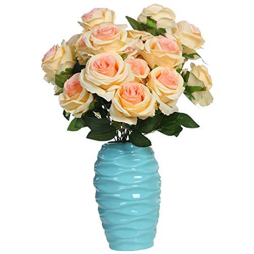 Rosenstrauß von Veryhome mit neun künstlichen Rosen, sehr realistisch als Brautstrauß oder für die Heimdekoration champagnerfarben