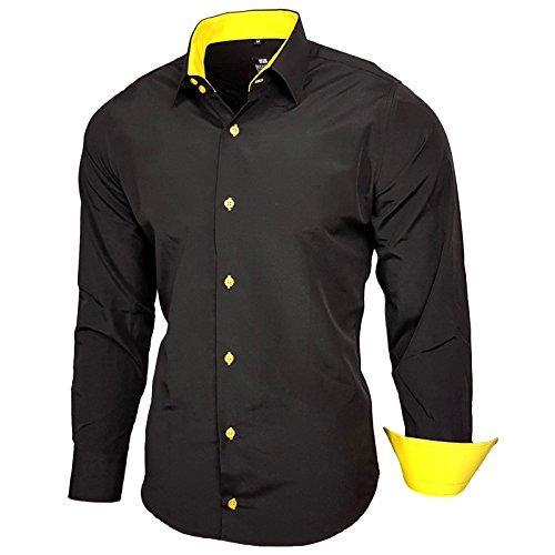 Baxboy Kontrast Herren Slim Fit Hemden Business Freizeit Langarm Hemd RN-44-2, Größe:2XL, Farbe:Schwarz/Gelb