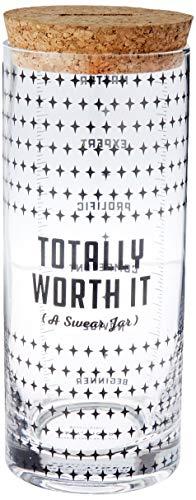 Easy Tiger Swear Jar, Total Worth It Glasdose mit Korkdeckel und Münzschlitz