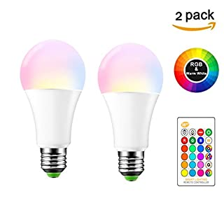 10W E27 RGBW LED Bulb, ABEDOE RGB LED Light Bulb,16 Color Changeable Dimmable Atmosphere Lighting, AC 85-265V, Warm White, Pack of 2X