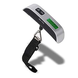 Foxpic Portabile 110lb/50kg Capacità LCD Bilancia da Bagaglio Elettronico Digitale con Display di Temperatura di Camera -Argento/Nero