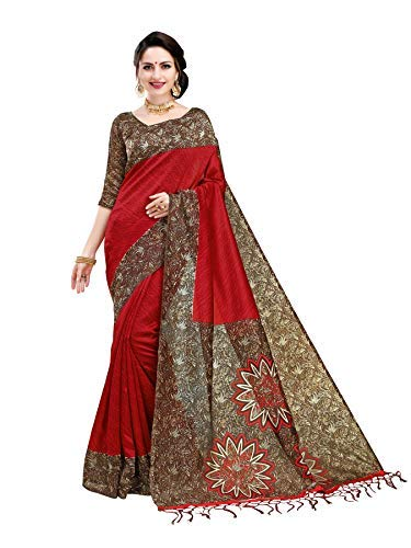 Indira Designer Silk Saree with Blouse Piece (BM-G2FZ-NYR0!_Bloody Red!_Free Size)