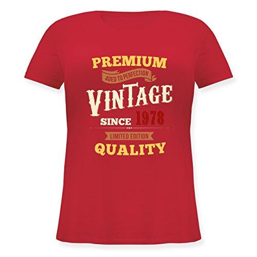 Shirtracer Geburtstag - 40. Geburtstag Vintage 1978 - Lockeres Damen-Shirt in Großen Größen mit Rundhalsausschnitt Rot