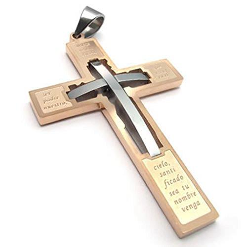 Epinki Edelstahl Herrenkette, Herren Anhänger Halskette Rose Gold Bold Gebet Kreuz 18 26