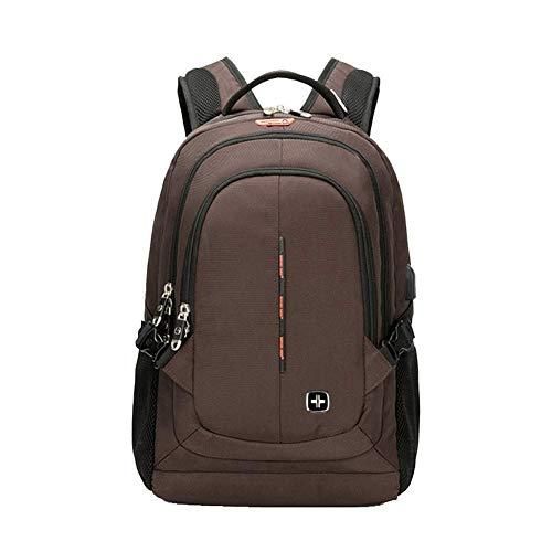 Unbekannt Laptop-Rucksack, USB-Ladeanschluss Kopfhörerloch Wasserdichter Nylon-Rucksack Business 17-Zoll-Laptop-Multifunktionsrucksack-coffee