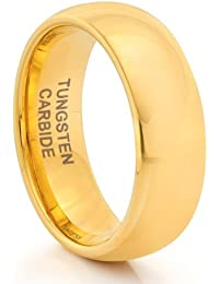 8MM Tungsten Carbide Mens Classic Gold Wedding Band Ring (Available Sizes N - Z+2)