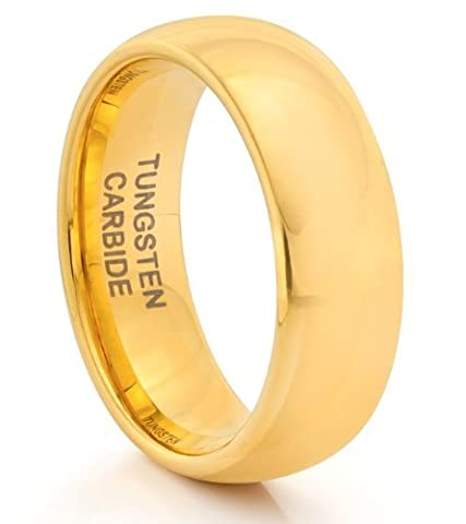 8MM Tungsten Carbide Mens Classic Gold Wedding Band Ring (Available Sizes N - Z+2) SIZE S