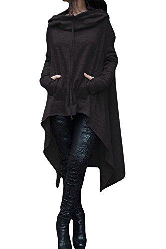 Damen Sweatshirt Casual Langarm Unregelmäßige Pullover mit Kapuzen Tunika Bluse Oversize Minikleid (XL, Schwarz) (Kapuzen-langarm-tunika)