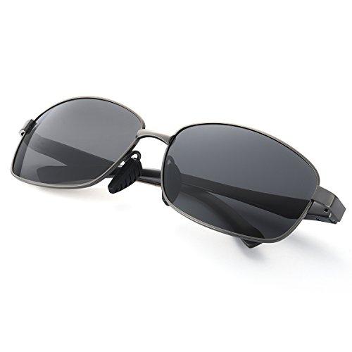 Sonnenbrille Polarisiert Rechteckig für Herren Metallrahmen Extra Leicht 100% Schutz vor Schädlichen UVA/UVB Strahlen (Grau/Grau)