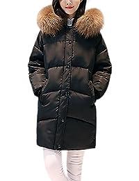 iBaste verdickte Wintermantel Damen Parka mit Fellkapuze Steppmantel  Gefütterter Winterjacke Daunenmantel… ae44245b77