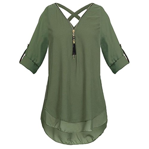 JUTOO Womens  V Neck Zipper Pure Color Chiffon T-shirts Casual Loose Tops Tunic Blouse(Z-Armeegrün, EU:38/CN:M)