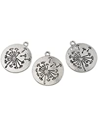 Hexawata Ancient Silver Color Dandelion Pattern Carved Round Charm Pendants For Jewelry Making Pack Of 10pcs