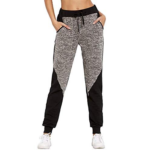 LInkay Damen Hose, Farbblock Lässig Yoga-Hose Sport Yoga-Jogger-Hosen mit Bindebund Strumpfhose Mode 2019 (Grau, Large) Matt-weiß 92