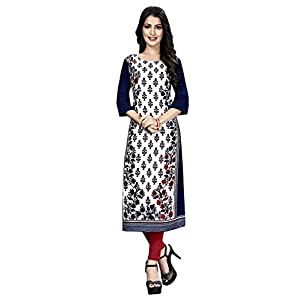 1 Stop Fashion Women's Crepe Regular Kurta (530069_Blue_)