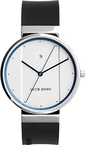 Jacob Jensen Unisex-Adult Analogue Quartz Watch with Rubber Strap JJ770