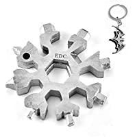 Neu 18-in-1 Multitool Edelstahl Fahrrad Multifunktionswerkzeug, Schneeflocke Multi-Tool Schlüsselanhänger Flaschenöffner Ringschlüssel Sechskantschlüssel EDC Werkzeuge (Silber)