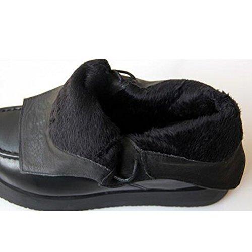 MatchLife Femmes Classiques Handmade Martin Base Epaisse Lacets Bottines Style1 Noir-Toison