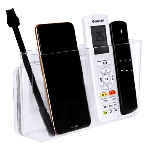 Pinowu Fernbedienungshalter Fernbedienung Aufbewahrung TV Klimaanlage Handy Verstellbar Organizer Tisch Ständer (Klar Polystyrol, Groß & Dick)
