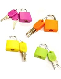 Set Of 4 Small Padlocks For Securing Luggage While Travelling - Includes 2 Keys For Each Lock (assorted Colors)