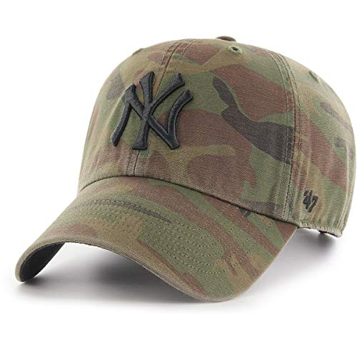 Gorra curva camuflaje con logo negro de New York Yankees MLB Regiment Clean Up de 47 Brand - Blanco, Talla única