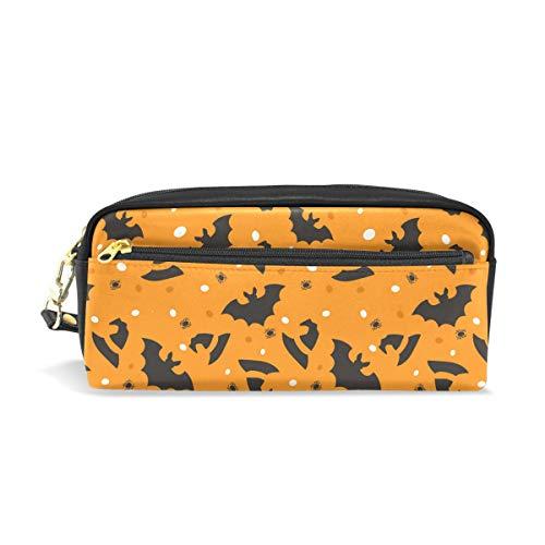 Bonipe Federmäppchen mit Halloween-Fledermaus-Muster, Federmäppchen, Tasche für Schule, Schreibwaren, Zubehör für Reisen, Kosmetik und Make-up