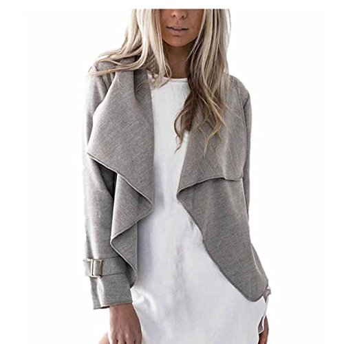 VENMO Womens Solide Mode Outwear Bogen voller Wolle lange Tops Hülse beiläufige Strickjacke Wasserfall Jacken (M, Gray) (Holz-camo-t-shirt)