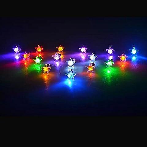 Kailian ® Glänzender Stern 1 Paar LED Ohrringe glühendes -rosa