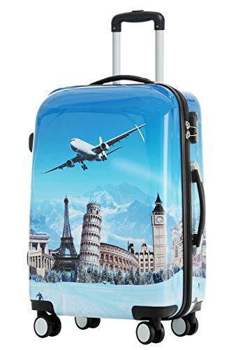 BEIBYE Reisekoffer Hartschalen Hardcase Trolley Zahlenschloss Polycarbonat Set-XL-L-M- Beutycase (Flug, XL)